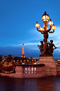 Night Lamp Prints - Pont Alexandre III Print by Brian Jannsen