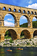Southern France Framed Prints - Pont du Gard in southern France Framed Print by Elena Elisseeva
