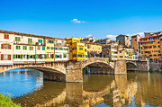 Italian Sunset Posters - Ponte Vecchio in Florence Poster by JR Photography