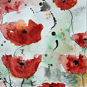 Ismeta Painting Prints - Poppies Flower- Painting Print by Ismeta Gruenwald