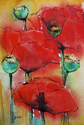 India Ink Posters - Poppies I Poster by Jani Freimann