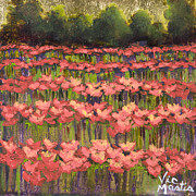 Vic Mastis Painting Metal Prints - Poppy Field with Gold Leaf by Vic Mastis Metal Print by Vic  Mastis