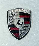 Hand Crafted Paintings - Porsche Emblem  by George Pedro