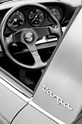 Black And White Photos Photos - Porsche Targa Steering Wheel and Emblem by Jill Reger