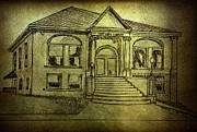 Library Drawings - Port Hope Library circa 1909 by Amanda Struz