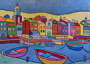 Boats In Water Paintings - Port in Spain by Joe Esposito