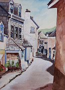 Cornwall Framed Prints - Port Isaac Street Framed Print by Merv Scoble