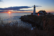 Portland Head Light At Dawn Print by Diane Diederich