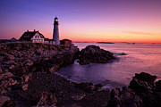 York Beach Framed Prints - Portland Head Light Framed Print by Emmanuel Panagiotakis