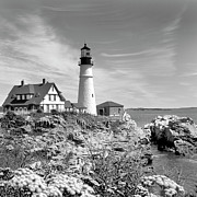 Rocky Coast Framed Prints - Portland Head Lighthouse Framed Print by Mike McGlothlen