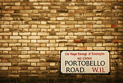 Chelsea Posters - Portobello Road sign on a Brick Facade of a Building Architectur Poster by ELITE IMAGE photography By Chad McDermott