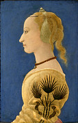 Famous Artists - Portrait of a Lady in Yellow by Alesso Baldovinetti