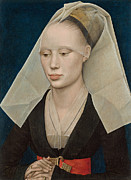 Medieval Paintings - Portrait of a Lady by Rogier van der Weyden