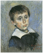 Portrait Of A Young Boy Framed Prints - Portrait of Jean Monet Framed Print by Claude Monet