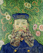 Backdrop Paintings - Portrait of the Postman Joseph Roulin by Vincent Van Gogh