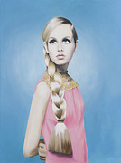 Portrait Of Twiggy Print by Moe Notsu