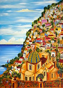 Fishermen Paintings - Positano by Roberto Gagliardi
