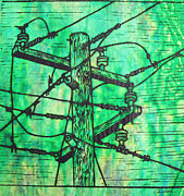 Austin Drawings - Power Lines by William Cauthern