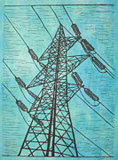 Block Print Drawings - Power by William Cauthern