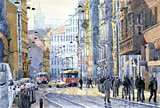 Tram Painting Framed Prints - Prague Vodickova str  Framed Print by Yuriy  Shevchuk