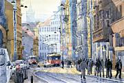 Prague Vodickova Str  Print by Yuriy  Shevchuk