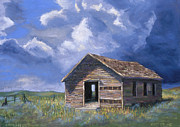 Cemetary Paintings - Prairie Church by Jerry McElroy