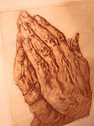 Praying Hands Drawings Framed Prints - Praying Hands Framed Print by Henry Goode