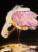 Spoonbill Paintings - Preening in the Spoonlight by Lil Taylor