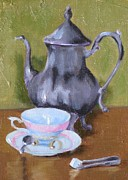 Silver Tea Pot Paintings - Preparing for the Visit by Thea David