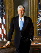 Democrat Painting Posters - President Bill Clinton Poster by War Is Hell Store