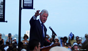 Bill Clinton Posters - President Clinton in Fort Pierce Poster by Megan Dirsa-DuBois