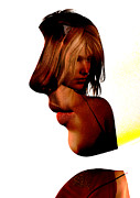 Blonde Digital Art Framed Prints - Profile Of A Woman Framed Print by David Ridley
