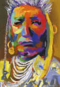 Contemporary Pastels Posters - Proud Native American II Poster by Stephen Anderson