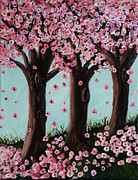 Cherry Blossoms Painting Metal Prints - Psalms for Sendai Metal Print by Maura Satchell