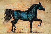 Horses Drawings - Psychedelic Blue by Angel  Tarantella