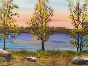 Trees At Sunset Paintings - Ptg   Adirondack Lake by Judy Via-Wolff