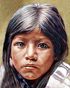 Native American Art Framed Prints - Pueblo Girl Framed Print by Stu Braks