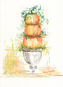 Pumpkins Paintings - Pumpkin Topiary by Leanne Whipple