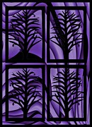 Silhouette Prints Mixed Media Prints - Purple Dreams Print by Barbara St Jean