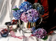 Red Drape Paintings - Purple Hydrangeas and Plums by Kimberly Meuse