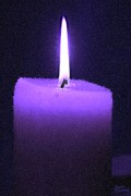 Candle Lit Prints - Purple Lit Candle Print by Bruce Nutting