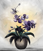 Gina Gray Paintings - Purple Orchids 2 by Gina De Gorna