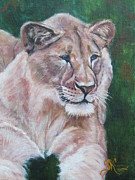 Lioness Painting Prints - Queen of the Beast Print by Sandra Cutrer