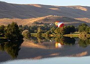 Prosser Balloon Rally Prints - Quiet Morning Reflection in Prosser Print by Carol Groenen