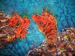 Sealife Tapestries - Textiles Posters - Quillfin Blenny Poster by Sue Duda