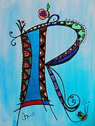Fantasy Originals - R Monogram by Joyce Auteri