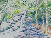 Waterfalls Paintings - Race Brook Falls by Craig Calabrese