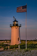 Cape Cod Scenery Posters - Race Point Lighthouse and Old Glory Poster by Susan Candelario