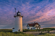 Cape Cod Scenery Posters - Race Point Lighthouse Sunset Poster by Susan Candelario