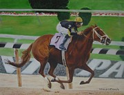Marcello Martinho Painting Posters - Racehorse Poster by Marcello Martinho